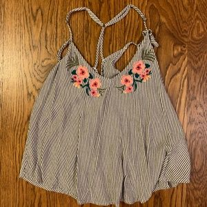 Hollister Striped Flower Embroidered Tank Top